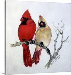 Red Cardinal Tattoos, Cardinal Birds, Watercolor Animals, Watercolor Paintings, Watercolor Ideas, Watercolour, Framed Art Prints, Canvas Prints, Bird Prints
