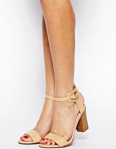 Mango Stacked Wooden Heel Single Sole Heeled Sandals