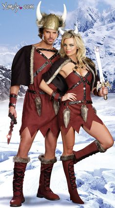 Viking Conquerors Couples Costume, Adult Vikings Couple Costumes, Couples Warrior Costumes, Warrior Couples Costume