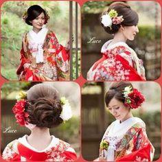 Before taking hair and accessories for kimono - 前撮り - Wedding Party Hair, Bridal Hair, Dress Hairstyles, Bride Hairstyles, Japanese Wedding Kimono, Japanese Kimono, Wedding Headdress, Hair Arrange, Hair Setting