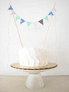 First Birthday Cake Topper - Fabric Cake Bunting - Wedding, Party, Shower Decor, baby elephant grey blue white aqua chevron polka dots boy on Etsy, $8.00