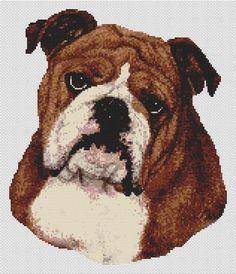 Brown & White Bulldog - Cross Stitch Pattern