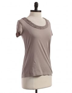 Anne Taylor Brown / Gray t-shirt - ruffle neck