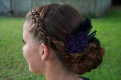 Byzantine Plum Elastic Headband/ Hair Clip. $12.00, via Etsy.