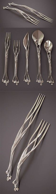 Unusual And Creative Printed Silverware. Francis Bitonti Studio has a bold idea to make the best silverware in the world. They use their cutting edge printed technology to make beautiful knife, forks, and spoons made out of four interlocked metal strands. Home Design, Design Art, Design Ideas, Print Design, Modern Design, Elvish, 3d Prints, Home Deco, Cool Stuff