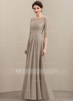 A-Line Scoop Neck Floor-Length Chiffon Lace Mother of the Bride Dress With Sequins - JJ's House Lace Evening Dresses, Ball Dresses, Elegant Dresses, Chiffon, Mom Dress, Bride Gowns, Pretty Outfits, Pretty Clothes, Mother Of The Bride
