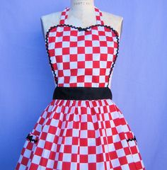 Retro apron 50s DINER Red Checkerboard Womens full APRON   vintage style flirty hostess gift aprons on Etsy, $28.50