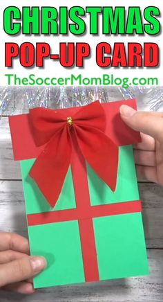 Christmas Pop-up Card – Christmas Crafts Craft Christmas Presents, Christmas Gift Videos, Pop Up Christmas Cards, Christmas Crafts For Kids To Make, Christmas Pops, Homemade Christmas Cards, Christmas Activities, Xmas Crafts, Handmade Christmas