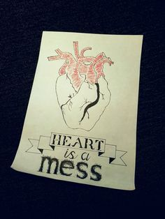 Drawing, heart is a mess.