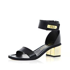 Black barely there block heel