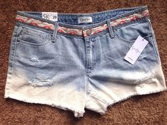NWT ($44) Jessica Simpson Boho Style Acid Wash Jean Shorts w/ Embroider - SZ 29 #JessicaSimpson #JeanShorts
