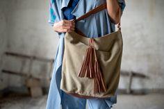 Mochilas y bolsas - El bolso Meringue cuero y lona - hecho a mano por LaBorsetta en DaWanda