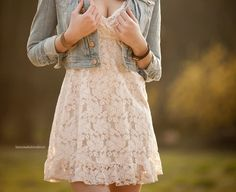 lace white sundress with a jean jacket I love this dress...but I want it in a light pink.