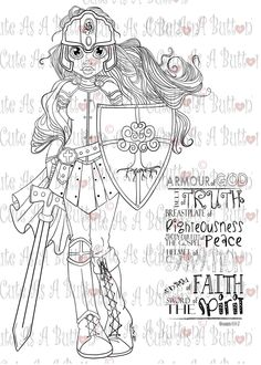 Put on the Full Armor - Bible Journaling Bookmark Digital Digi Stamp Niedlich wie ein Knopf entwirft Bibel-Journaling . Scripture Doodle, Scripture Study, Bible Art, Bibel Journal, Bible Coloring Pages, Armor Of God, Bible Prayers, Free Bible, Illustrated Faith