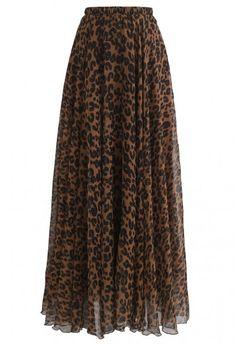 Leopard Watercolor Maxi Slip Dress in Brown - DRESS - Retro, Indie and Unique Fashion Pleated Maxi, Chiffon Maxi, Striped Maxi Dresses, Midi Skirt, Leopard Maxi Skirts, Floral Maxi Skirts, Printed Maxi Skirts, Knit Skirt, Knit Dress