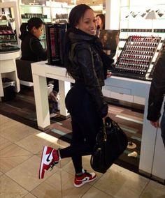 6a1cae435693 Tahiry Jose wearing Air Jordan Retro I 1 High Bulls Celebrity Sneakers