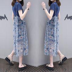 유럽 역 여름 새로운 여성 반소매 T 셔츠 인쇄 정장 꽃 드레스 투피스 드레스와 긴 섹션