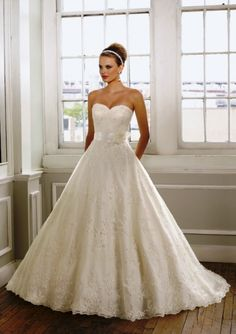 A-Line Sweetheart Strapless Embroidered Lace Sash Chapel Train Wedding Dress- WA0357, $238.95