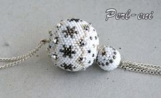 Beaded Bead Perl eni: Snowball - Snow Berry