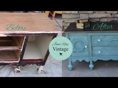 Vintage Buffet Makeover with CHalk Paint and Weatherwood Stains Vintage Buffet, Vintage Diy, Diy Furniture Videos, Chalk Paint, Entryway Tables, Stains, Pretty, Youtube, Home Decor