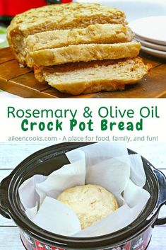 Did you know you can make bread in your slow cooker? Try this recipe for crock pot bread - it's a delicious yeasted bread with olive oil and rosemary. Plus, this homemade bread cooks in your crockpot in just 2 hours! Slow Cooker Bread, Slow Cooker Recipes, Cooking Recipes, Bread Crockpot, Bread Recipes, Vegetarian Cooking, Crockpot Meals, Cooking Ideas, Vegan Recipes