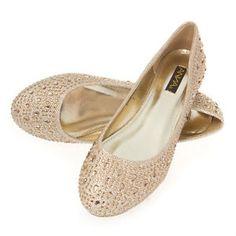 Women Gold Glitter Wedding Rhinestone Bridal Prom Ballerina Ballet Flat Shoe 8