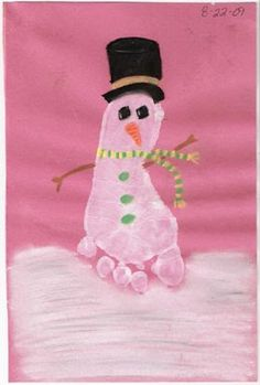 To make this adorable Footprint Snowman, place a white footprint on a piece of colored paper. When it dries, paint or draw on a hat, scarf, carrot nose, coal eyes, buttons, and arms. I also added snow underneath the snowman. Some ideas for the snow are:  painting it with a paintbrush,  fingerpainting a bunch of white …