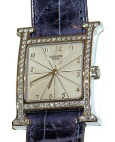 Hermes ~ Diamond Surround White Face Watch