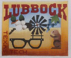 Denise DeRusha Designs Lubbock Hand Painted Needlepoint Canvas 18 count