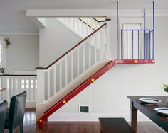 """Traditional Staircase """"craftsman Stairs"""" Design, Pictures, Remodel, Decor and Ideas - page 2 -- love the railing with the white spindles spaced a little wider apart and the square-edged dark hand rail."""