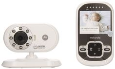 """Motorola MBP26 Wireless 2.4 GHz Video Baby Monitor with 2.4"""" Color LCD Screen, Infrared Night Vision and Remote Camera Pan and Tilt. Up to 520 foot range with out of range alert. 2.4 Inch Color LCD monitor with infrared night vision. Optical Pan and Tilt and LED sound level indicators on parent unit. Parent unit has a rechargeable battery with a low battery alert. Parent unit can be paired with up to four baby units (cameras); One parent unit (monitor) and one baby unit (camera) included."""