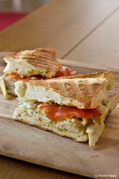 Garlic Chicken Panini...with roasted red peppers, marinated artichokes, Swiss cheese and basil garlic mayo on baguette