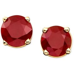 Ruby Stud Earrings in 14k Gold (1 ct. t.w.) (890 NOK) ❤ liked on Polyvore featuring jewelry, earrings, accessories, brincos, red, no color, yellow gold stud earrings, ruby earrings, red ruby earrings and red earrings
