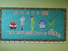 Inside Out classroom theme bulletin board