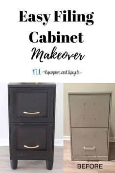 Easy Filing cabinet makeover before and after Furniture Makeover, Diy Furniture, Painting Furniture, Office Furniture, Chair Makeover, Office Makeover, Furniture Refinishing, Furniture Outlet, Furniture Stores