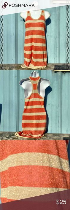 Young Fabulous & Broke Knit Striped Dress Lightweight knot dress with beige and mauve-orange stripes. Shiny gold thread throughout. Looks cute on its own or with a pair of leggings. Young Fabulous & Broke Dresses