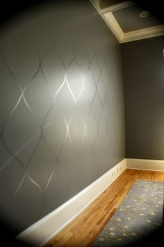 Flat finish paint on walls with pattern in high gloss paint of the same shade.