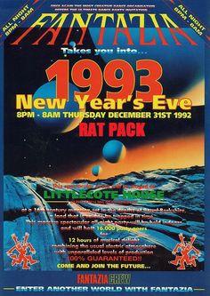 Original Fantazia Rave 1993 New Years Eve Poster 1990s Rave, Newbury Berkshire, Rave Music, Founders Day, Plakat Design, Acid House, Music Artwork, New Poster, Graphic Design Art