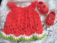 """Free pattern ♥...awww a lil' watermelon dress~n~shoes...sweet. Thanks so much for the share xox"" #crochet"