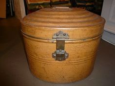 antique french metal hat box
