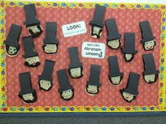 Cute Lincoln's with hat flaps.  Sticky notes are hidden in the flaps just like Lincoln put his important notes in his hat.