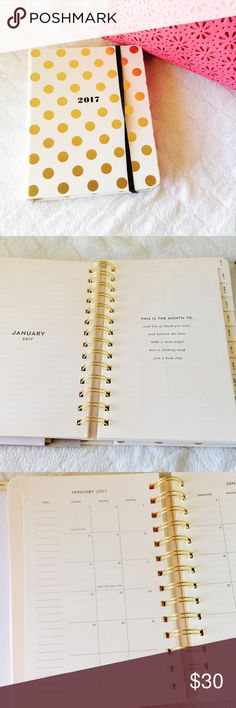 """Kate Spade 2017 agenda  authentic  * new with tags * goes from aug 2016 - dec 2017 - just in time for the new year!  * gold polka dots + binder bound design w/ spirals inside  * 6""""L x 7.75""""H x 1.25""""W * monthly & weekly pages ❌ no trades  ⭕️ no lowball offers ❣️offers welcome! kate spade Other"""