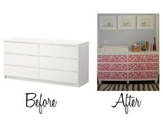 Bet i could use washi tape or wallpaper for the drawers... Adding Legs to an IKEA Malm Dresser