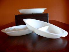 3 Pyrex Opal Glass Divided Oval Casserole 1063 by shopliferelics