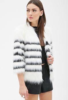 Striped Faux Fur Coat | FOREVER 21 - 2000100957