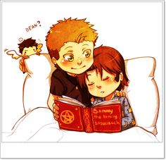 Wincest: Bed-time story by YukiHyo.deviantart.com on @deviantART -- Love Castiel in the background and the name of the story lol.