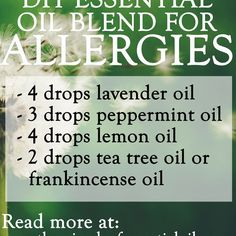 , Make your own essential oil blend for allergies to get those runny noses, itchy . , Make your own essential oil blend for allergies to get those runny noses, itchy skin and watery eyes under control! Some of the best essential oils fo. Essential Oils Allergies, Essential Oil Diffuser Blends, Essential Oil Uses, Doterra Essential Oils, Young Living Essential Oils, Essential Oils Runny Nose, Young Living Oils For Allergies, Mixing Essential Oils, Oils For Sinus