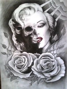 . Marilyn Monroe Tattoo, Marylin Monroe, Rosario Tattoo, Chicano, Sugar Skull, Tatoos, Tatting, Tattoo Designs, Arts And Crafts