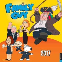 This collectible Family Guy 2017 Wall Calendar features the show's most beloved characters and 12 catchphrases and irreverent quotes from the Fox show Family Gu y. Widely praised for its outrageous hu