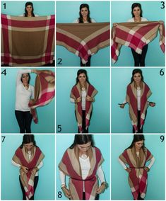 ideas for how to wear pashminas scarf shirts outfit ideas for how to wear pashminas scarf shirts Blanket Scarf Outfit, How To Wear A Blanket Scarf, Ways To Wear A Scarf, Scarf Shirt, How To Wear Scarves, Wearing Scarves, Plaid Scarf Outfit, How To Wear Shirt, Tie Scarves